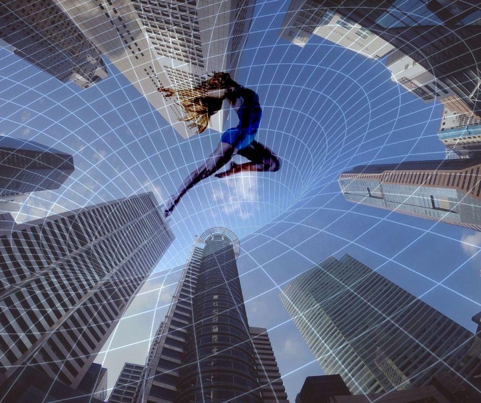 Photomontage pour article sauter des gratte-ciels