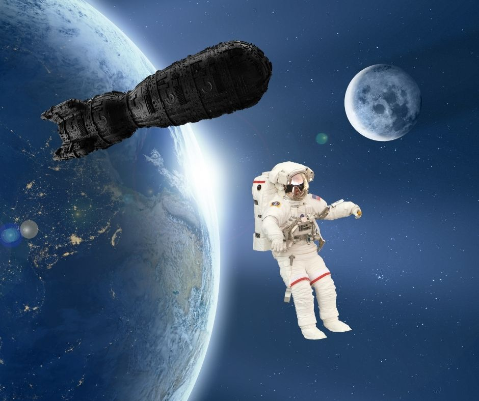 photomontage alone in space